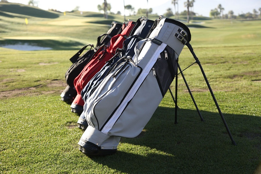 Different Colors Stand Bags on Grass