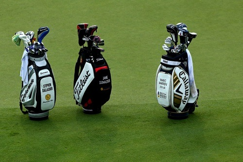 Three Different Golf Bags on Golf Court