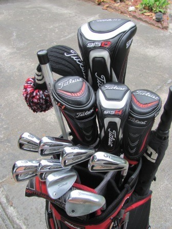We sugest placing the irons, woods and drivers to the back